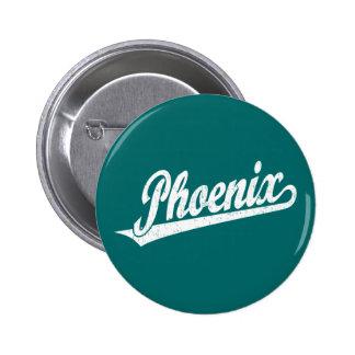 Phoenix script logo in white distressed 6 cm round badge