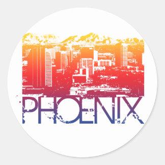 Phoenix Skyline Design Classic Round Sticker