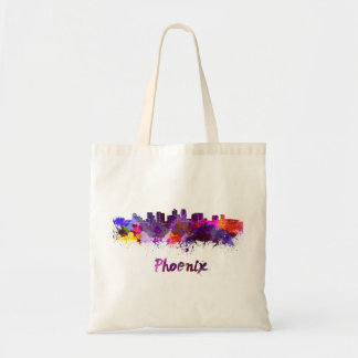 Phoenix skyline in watercolor tote bag
