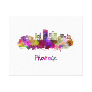 Phoenix V2 skyline in watercolor Canvas Print
