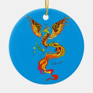 Phoenix vector illustration round ceramic decoration