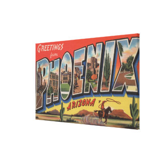 Phoeniz, Arizona - Large Letter Scenes Canvas Print