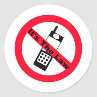 Phone Ban It's The Law Round Stickers