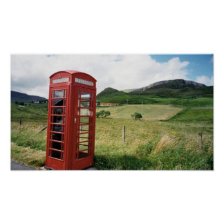 Phone booth in Scotland Poster