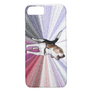 Phone case photo of beagle howling with graphics