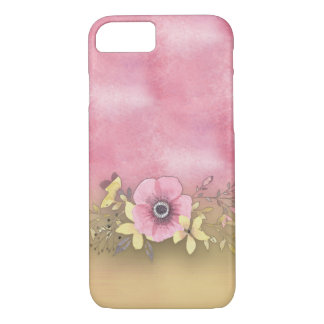 Phone case -- Pink flower with pink background