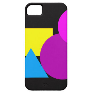 Phone case with geometric shapes.