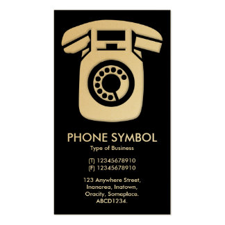 Phone Symbol - Black (Gold Card) Business Card Templates