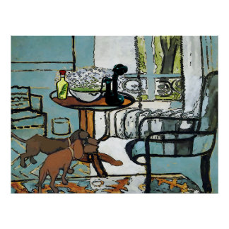 Phone Table, and Dachshunds Matisse Style Poster