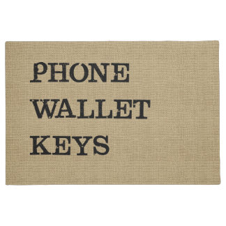 PHONE WALLET KEYS Black on Burlap Effect Doormat