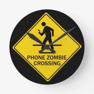 Phone Zombie Crossing Round Clock