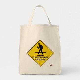 Phone Zombie Crossing Tote Bag