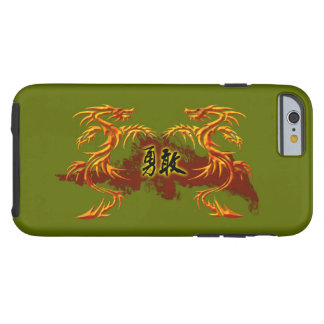 phonecase, 2 dragons, fire, Chinese symbol brave Tough iPhone 6 Case