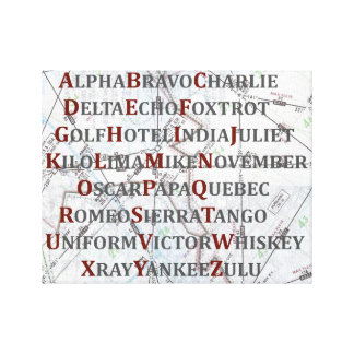 Phonetic Alphabet Canvas, Aviation Home Gifts Canvas Print