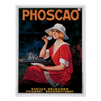 Phoscao Vintage Chocolate Drink Ad Art Poster