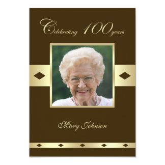 Photo 100th Birthday Party Invitation --Brown Personalized Invitations