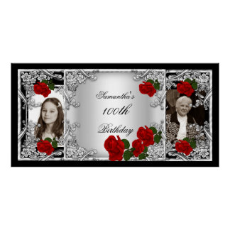 Photo 100th Birthday Party Red Rose Silver Poster