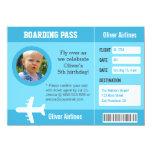 Photo Aeroplane Boarding Pass Birthday Party 11 Cm X 16 Cm Invitation Card