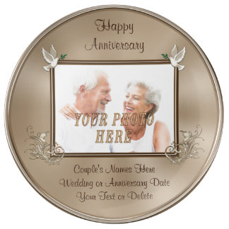 Photo Anniversary gifts Number of YEARS, YOUR TEXT Porcelain Plates