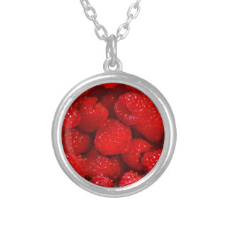 Photo Art Raspberries Silver Plated Necklace