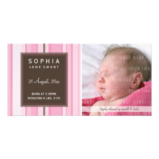 PHOTO BABY ANNOUNCEMENT :: smartly striped 2L Card