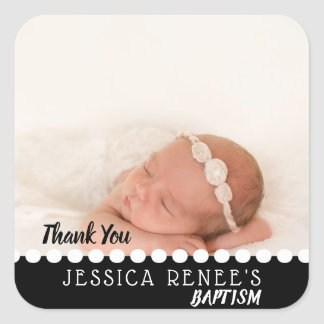 Photo Baby Baptism Thank You Favor | Black White Square Sticker