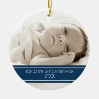 Photo Baby First Christmas Ornament Blue