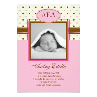 Photo Baby Girl Birth Announcement