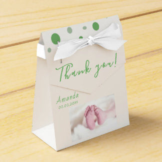 Photo Baby shower Party Green Circles Favour Box