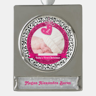 Photo Baby's First Christmas Pink Heart Damask Silver Plated Banner Ornament