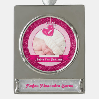 Photo Baby's First Christmas Pink Heart Silver Plated Banner Ornament