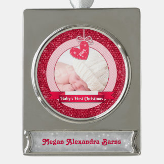 Photo Baby's First Christmas Red Heart Silver Plated Banner Ornament