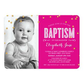 PHOTO BAPTISM cute gold glitter confetti hot pink 13 Cm X 18 Cm Invitation Card