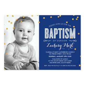 PHOTO BAPTISM cute gold glitter confetti navy blue Card