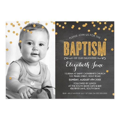 PHOTO BAPTISM gold glitter confetti chalkboard Custom Announcement