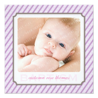 PHOTO BAPTISM INVITES :: candystripes 5SQ