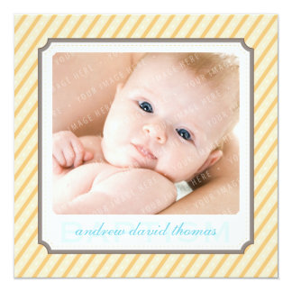 PHOTO BAPTISM INVITES :: candystripes 6SQ