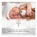 """Photo Baptism White & Silver Cross Invitation 5.25"""" Square Invitation Card"""