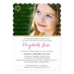 PHOTO BAT MITZVAH chevron stripe gold glitter pink 13 Cm X 18 Cm Invitation Card