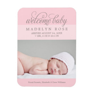 Photo Birth Announcement   Baby Girl Magnet