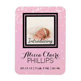 Photo Birth Announcement   Baby Girl Pink Hearts Magnet