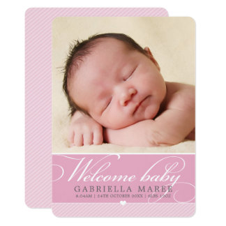 PHOTO BIRTH ANNOUNCEMENT baby lovely script pink