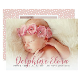 Photo Birth Announcement Card | Statement Name