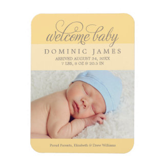 Photo Birth Announcement | Custom Color Rectangle Magnet
