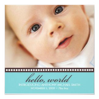 """Photo Birth Announcement 5.25"""" Square Invitation Card"""