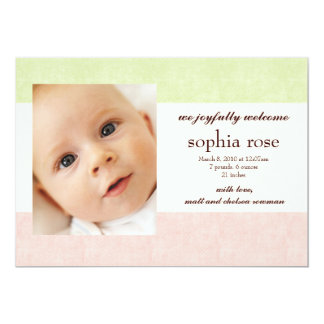 """photo birth announcement 5"""" x 7"""" invitation card"""