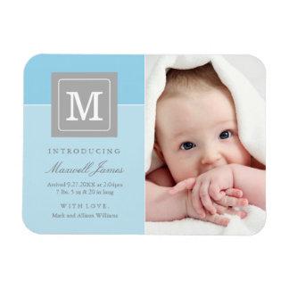 Photo Birth Announcement | Letter Block Baby Boy Rectangular Photo Magnet