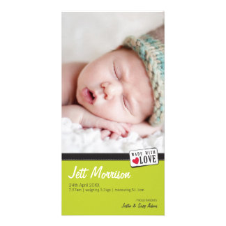 PHOTO BIRTH ANNOUNCEMENT :: made with love 1 Photo Card Template