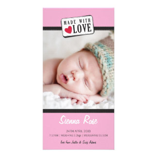 PHOTO BIRTH ANNOUNCEMENT :: made with love 5 Photo Card