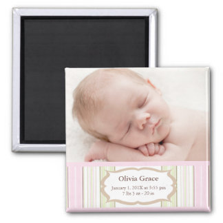 Photo Birth Announcement Magnets - Baby Girl